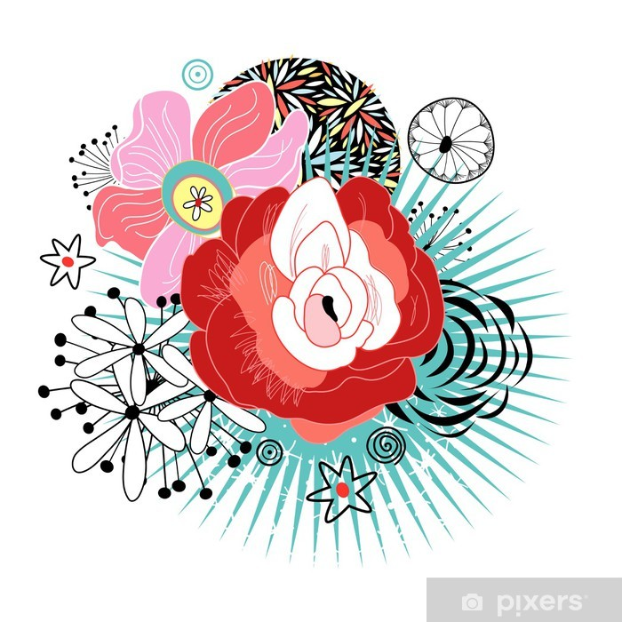 Sticker Pixerstick Carte de fleur - Arrière plans