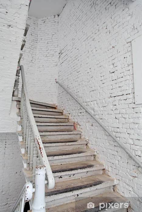 Escalier blanc sur mur blanc. Sticker - Pixerstick