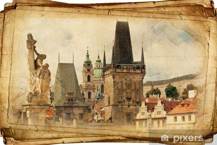 Fototapeta winylowa Ulicami Starej Pragi wykonane w stylu artystycznym akwarela - Miasta europejskie