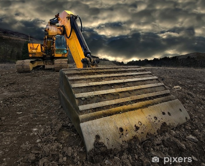 Adesivo Pixerstick Escavatore minaccioso - Industria pesante