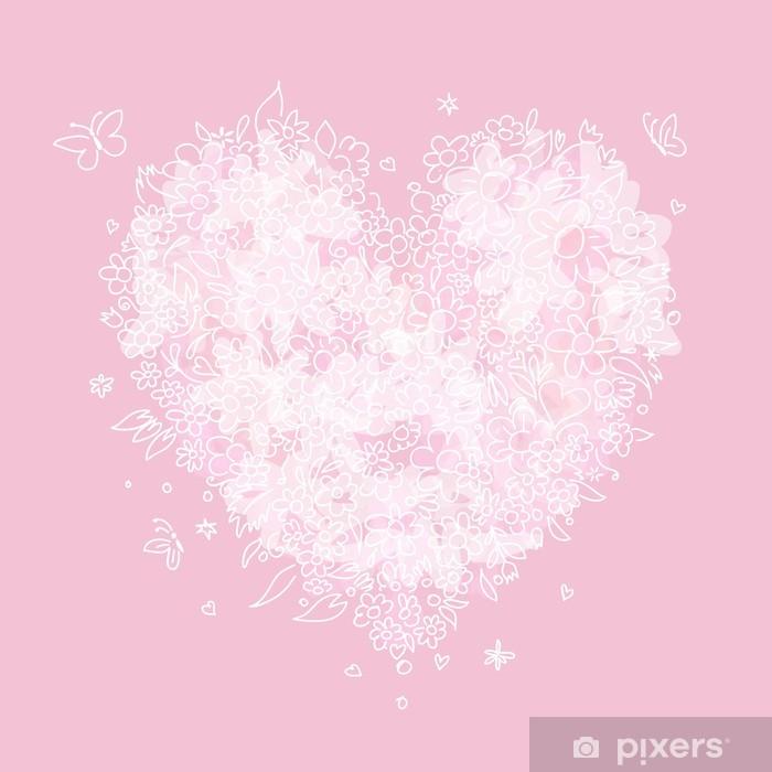 Poster Sketch von floralen Herz-Form für Ihr Design - Internationale Feste