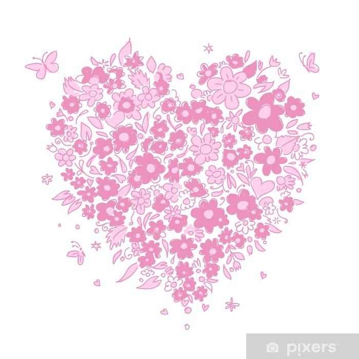 Plakát Náčrt květinové tvaru srdce pro svůj design - Slavnosti