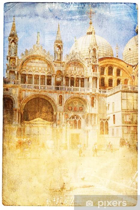 Papier peint vinyle Vues de Venise dans un style vintage, comme les cartes postales - Thèmes