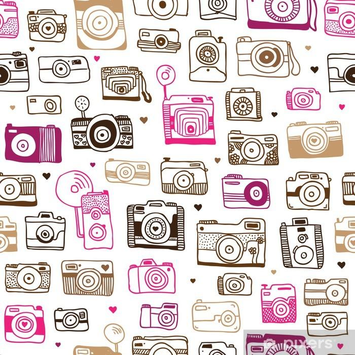 Fototapeta winylowa Doodle powtarzalne wzór aparat fotograficzny w wektorze - Hobby i rozrywka