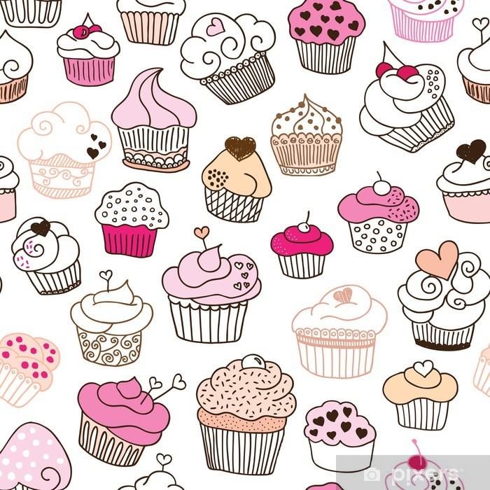 Poster Seamless pattern illustrazione Cupcake nel vettore - Celebrazioni