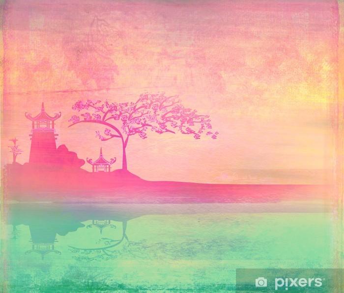 Pixerstick Dekor Gamla papper med asiatiska landskap -