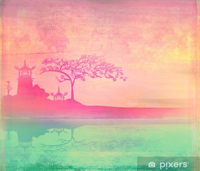 old paper with Asian Landscape Pixerstick Sticker -