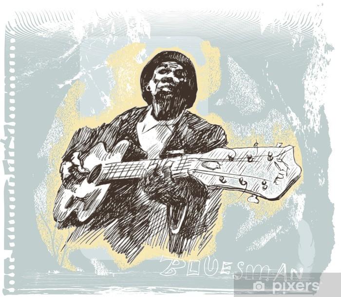 Vinyl Fotobehang Blues man met gitaar - Mannen