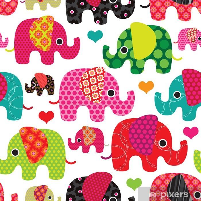 Seamless elephant kids pattern background in vector Vinyl Wall Mural - Preschooler