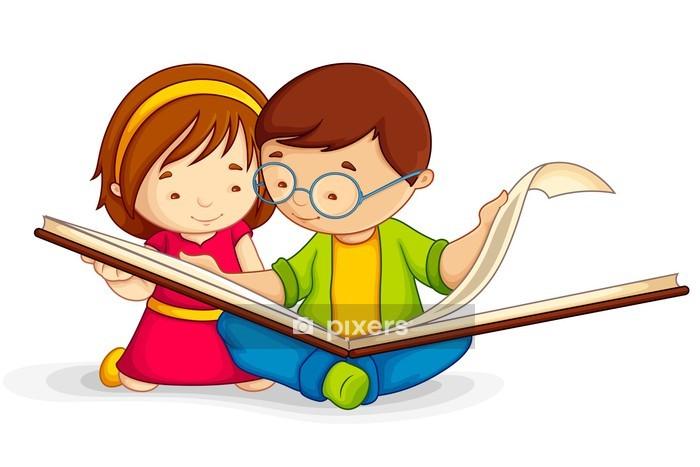 Vinilo para Pared Ilustración del vector del libro de lectura abierta niño sentado en el suelo - Vinilo para pared