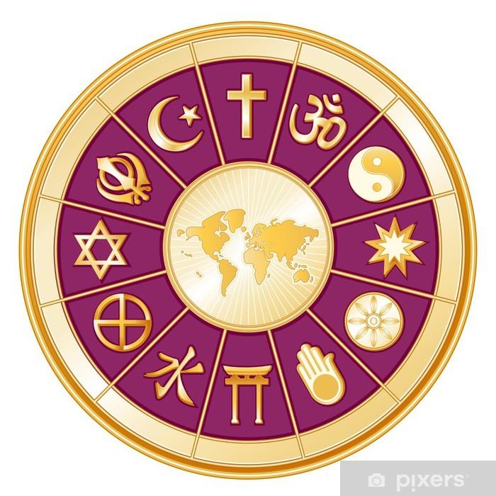 Fotomural Estándar Religiones internacionales, mapa del mundo, mandala - Religión