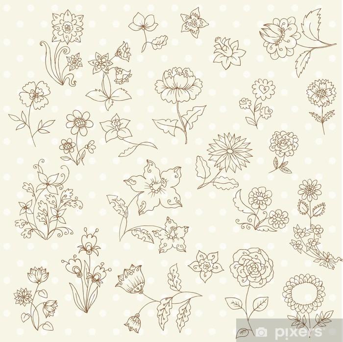 Naklejka Pixerstick Zestaw ręcznie rysowane Kwiaty - na notatniku i wzornictwa w wektorze - Kwiaty