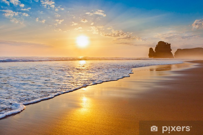 Vinilo Pixerstick Puesta del sol del océano. - Temas
