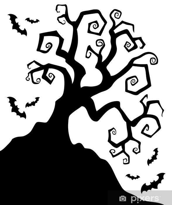 Spooky silhouette of Halloween tree Wall Mural , Vinyl