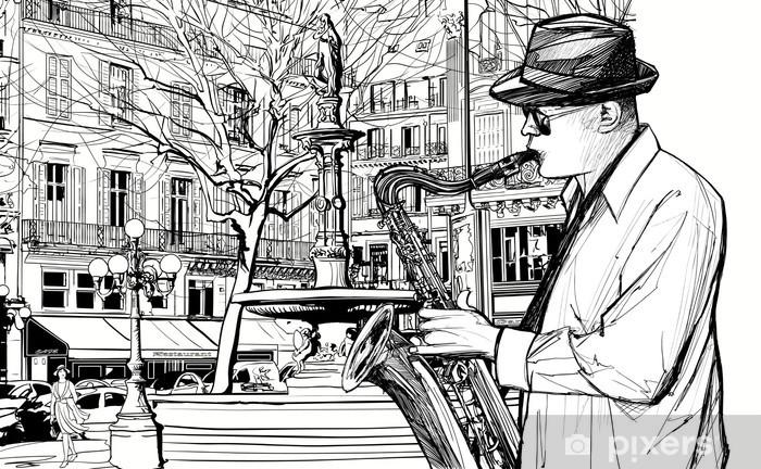saxophone player in a street of Paris Pixerstick Sticker - Jazz