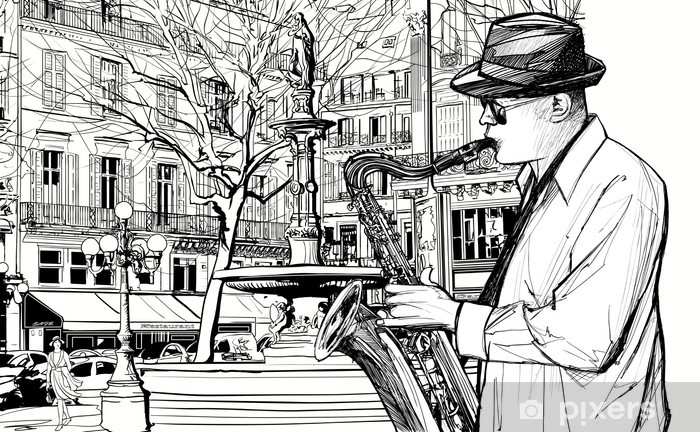 saxophone player in a street of Paris Vinyl Wall Mural - Jazz