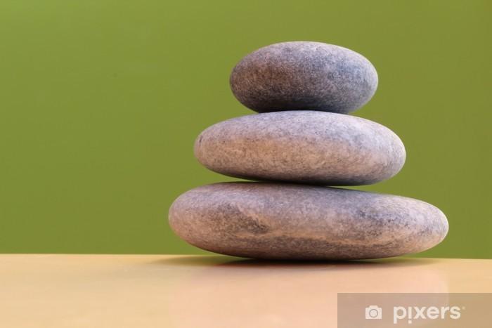 Vinylová fototapeta Tři kameny na zeleném pozadí - harmonie, stabilita - Vinylová fototapeta