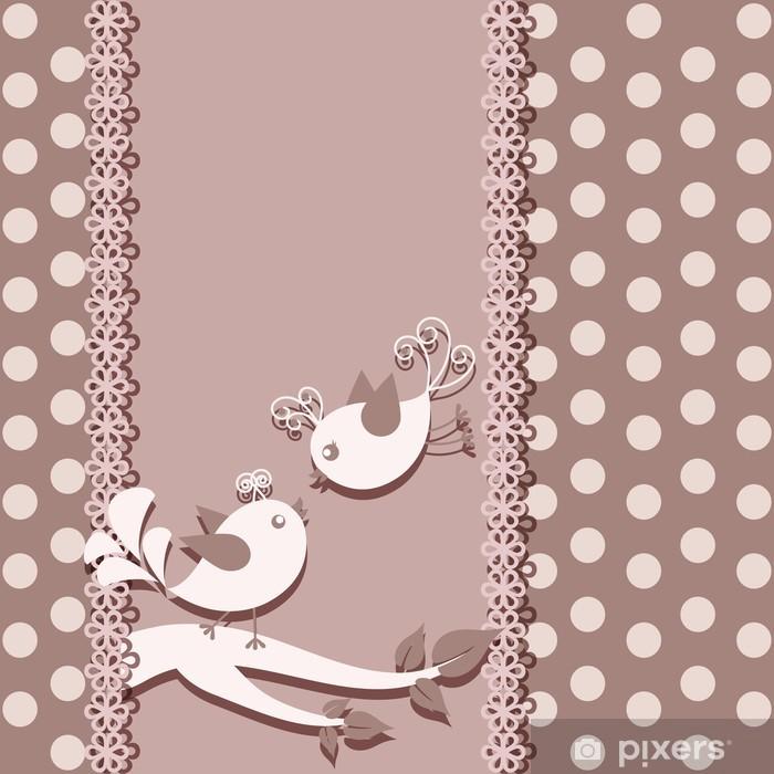 Fototapeta winylowa Piękne karty z ptaków na gałęzi - Style