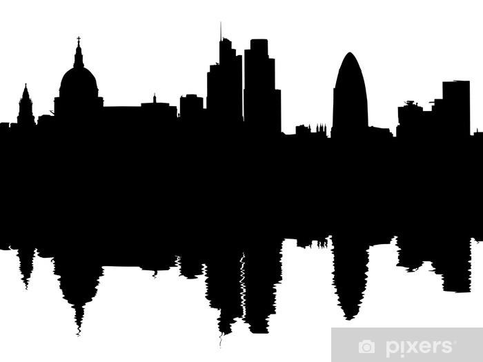Vinyl-Fototapete London Skyline spiegelt mit Wellen Illustration - Europäische Städte