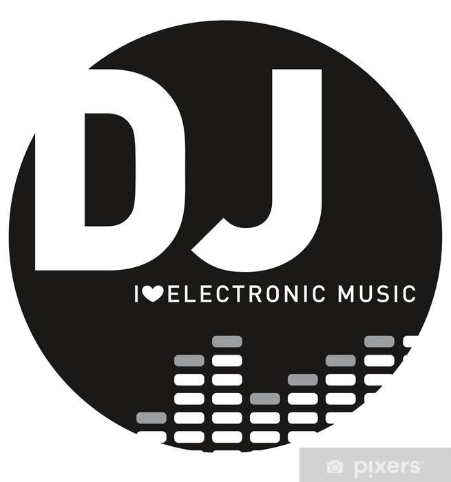 Fotomural Estándar Logo dj, mix, mixer, la música electrónica - Señales y símbolos