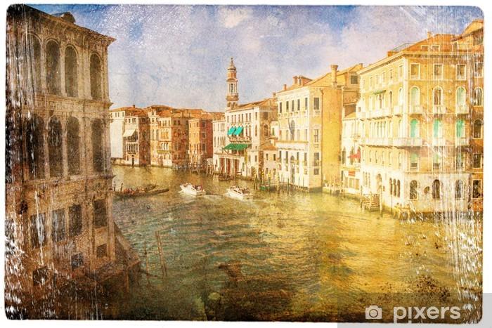 Sticker Pixerstick Vues de Venise dans un style vintage, comme les cartes postales - Thèmes