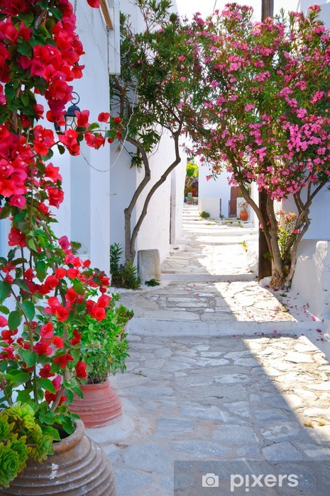 Quiet back street in small traditional greek village Pixerstick Sticker - Themes