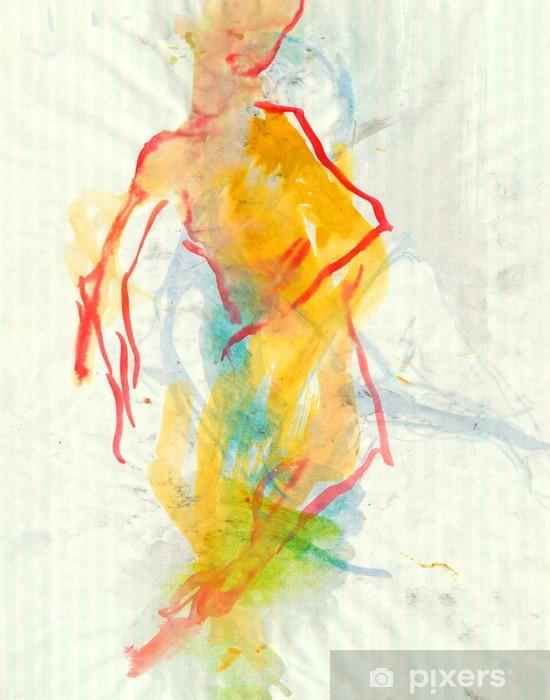 Sticker Pixerstick Ballerine, aquarelles technique - Art et création