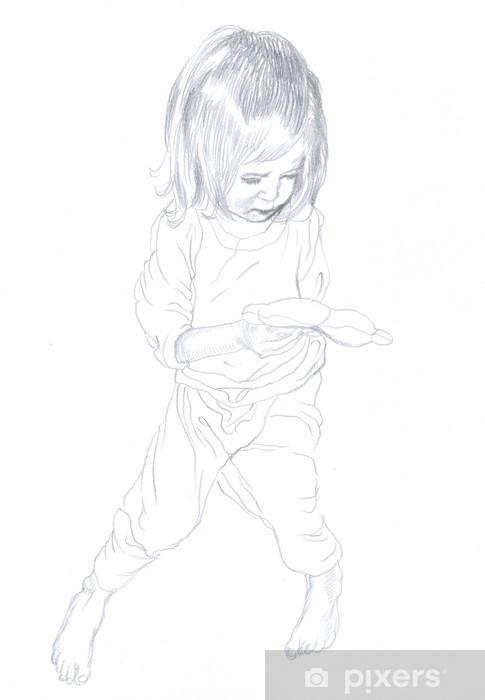 Fototapeta Rysunek Ołówkiem Dziecko Dziewczynka Pixers