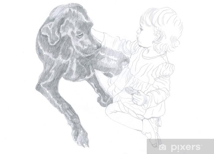 Fototapeta Kresba Tuzkou Dite A Pes Pixers Zijeme Pro Zmenu