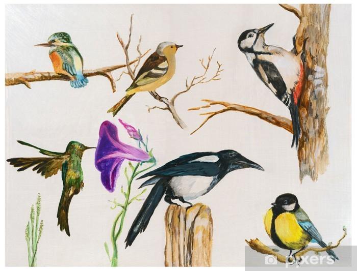 Papier Peint Oiseaux Peinture Acrylique Peinture à La Main