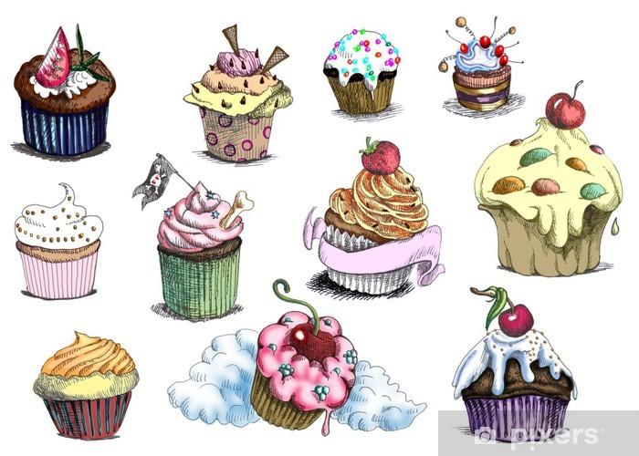 Carta Da Parati In Vinile Cupcakes Si Tratta Di Originali Di Disegni