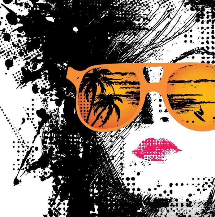 Vinilo Pixerstick La mujer en gafas de sol - Vacaciones
