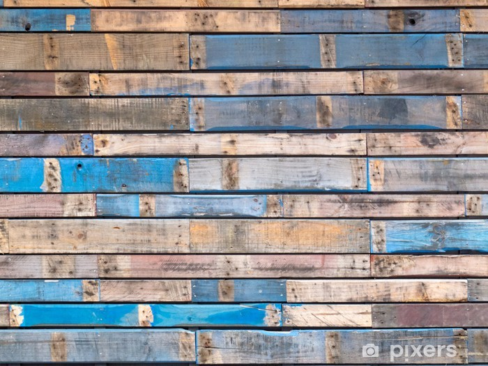 Grungy blue painted wood planks of exterior siding Pixerstick Sticker - Themes