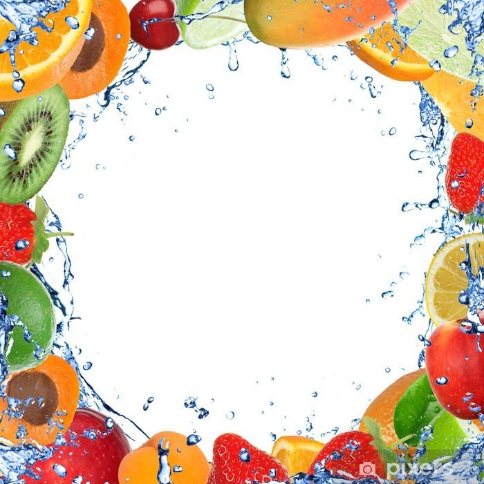 Naklejka Pixerstick Świeże zdrowych owoców background z zalewaniem - Owoce