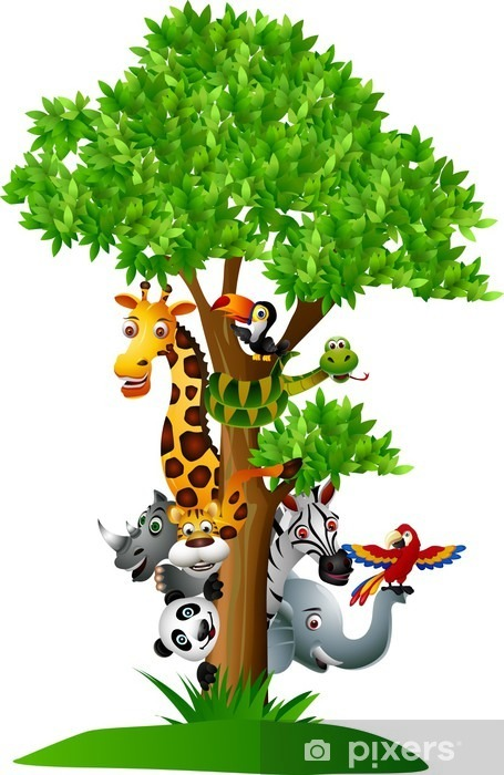 Papier peint vinyle Divers dessin animé de safari drôles d'animaux pour se cacher derrière un arbre - Sticker mural