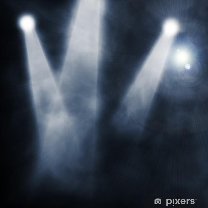Poster Pleins feux sur fond bleu smog - Arrière plans
