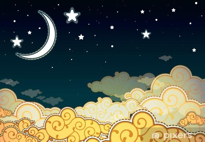 Papier peint vinyle Ciel de nuit de style de bande dessinée - Thèmes