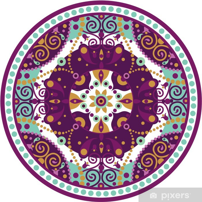 mandala-round Pixerstick Sticker - Wall decals