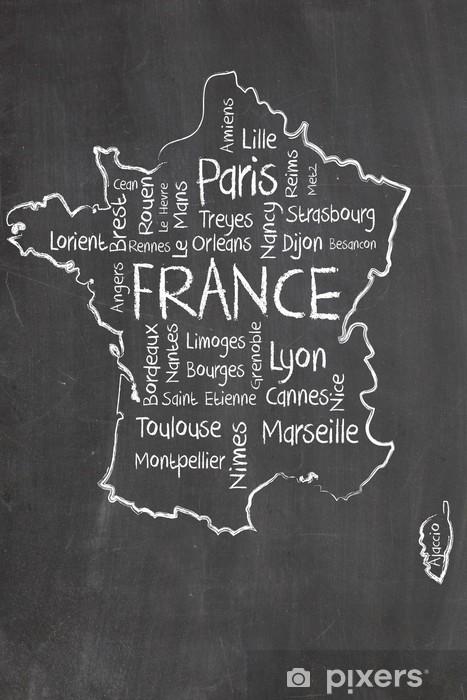 Aufkleber Frankreich Karte Und Worten Cloud Mit Größeren Städten Pixerstick