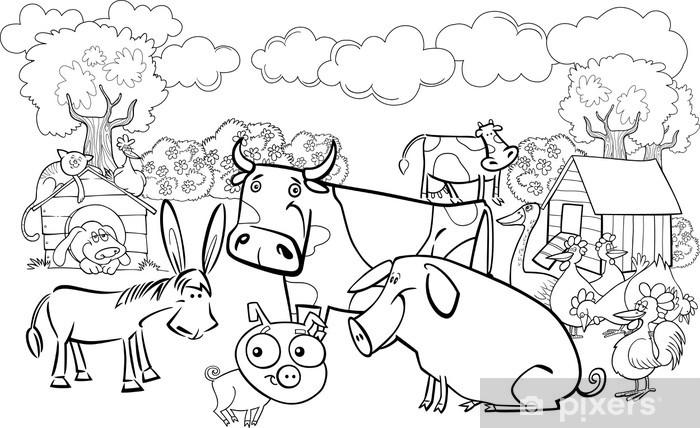 Vinilo Para Armario Animales De Granja Para Libro Para Colorear