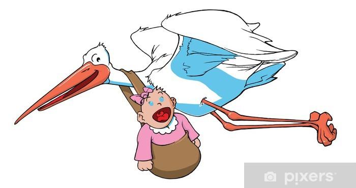 Sticker Pixerstick Cigogne portant un bébé - Vie
