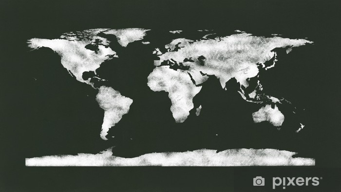 Chalk World Map Nasa Image Used As Reference To Redraw Wardrobe