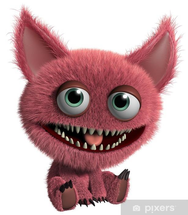 Papier peint vinyle Rouge monstre poilu - Animaux imaginaires