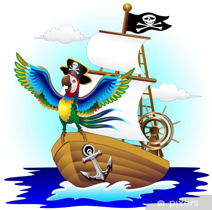 Aufkleber Su Pappagallo Piratenschiff Cartoon Papageien Piraten