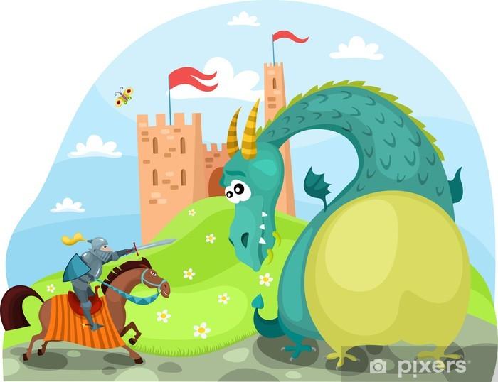 Papier peint vinyle Dragon et chevalier - Destin
