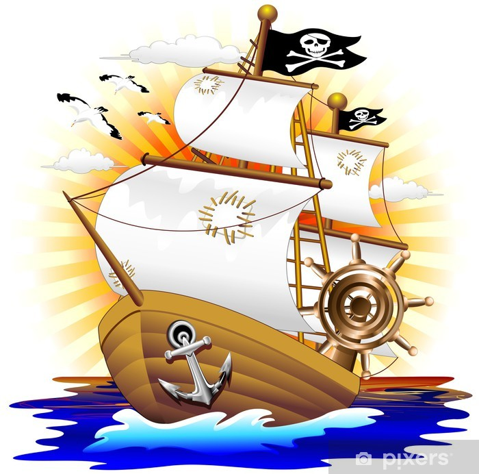 Fotomural Estándar Nave Pirata Cartoon Pirate Ship-Vector - Destinos