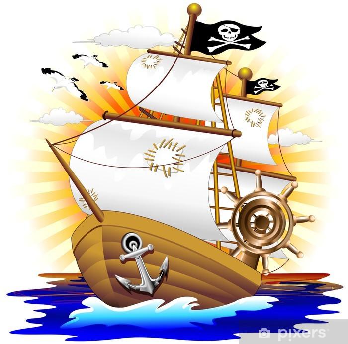 Nave Pirata Cartoon Pirate Ship Vector Poster Pixers