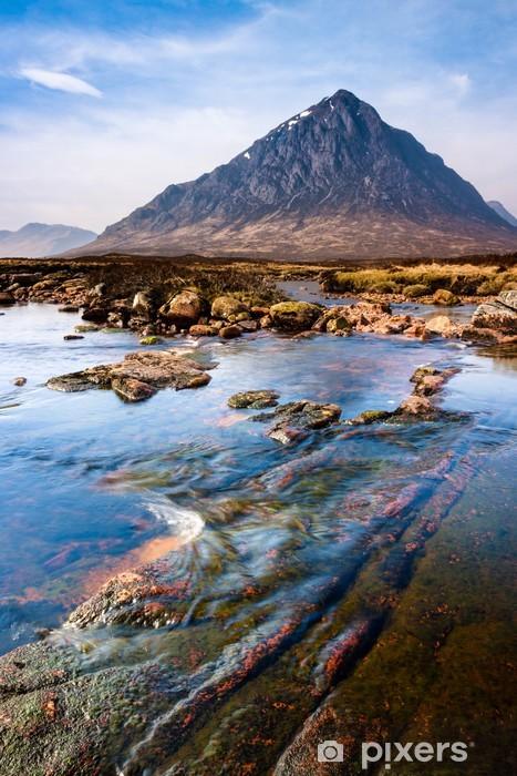 Vinil Duvar Resmi Dağ ve nehir ile İskoç yaylaları peyzaj sahne -
