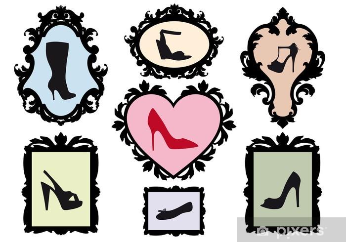 Fotomural Estándar Siluetas de calzado en marcos antiguos 3b2536be0ea38