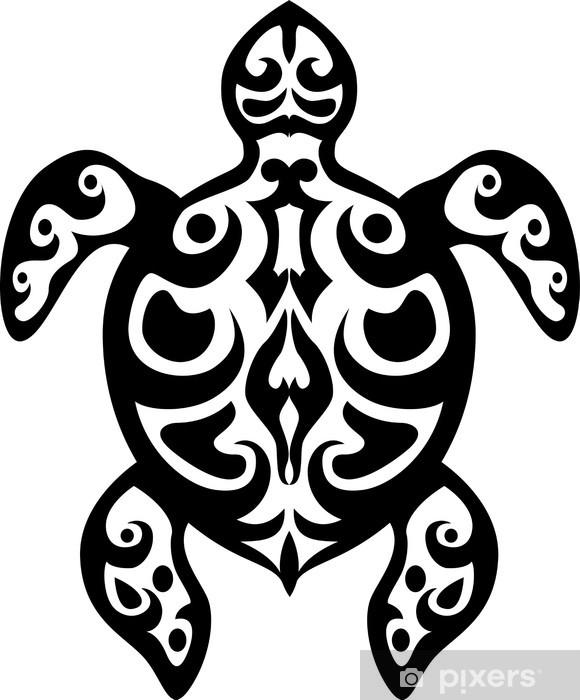 Carta da Parati in Vinile Turtle tatuaggio tribale - Mammiferi